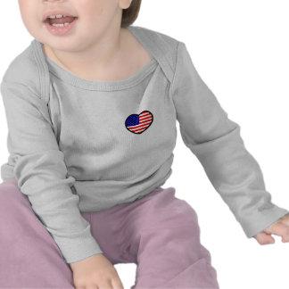 Luva longa infantil dos EUA do coração T-shirt