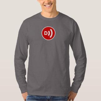 Luva longa t do logotipo do círculo da entrada de camiseta