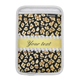 Luva Para iPad Mini Brilho do ouro do falso do leopardo e preto da