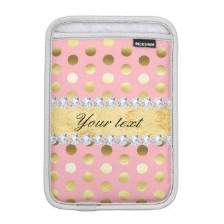 Luva Para iPad Mini Diamantes cor-de-rosa das bolinhas da folha de