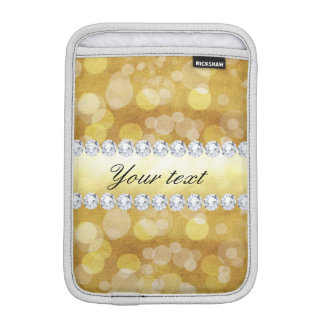 Luva Para iPad Mini Folha e diamantes bonitos de Bokeh do ouro