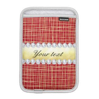 Luva Para iPad Mini Linhas e diamantes vermelhos do entrecruzamento do