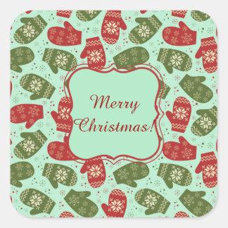Luvas do Natal e flocos de neve engraçados BG Adesivo Quadrado