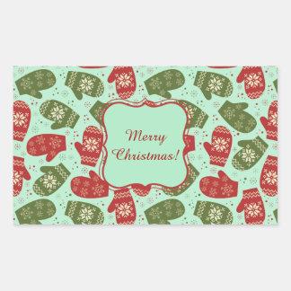 Luvas do Natal e flocos de neve engraçados BG Adesivo Retangular