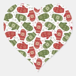 Luvas e flocos de neve verdes vermelhos do Natal Adesivo Coração