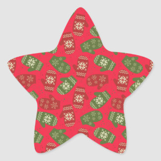 Luvas verdes vermelhas agradáveis do Natal no Adesivo Estrela