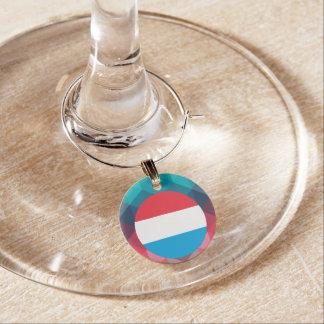 Luxembourg embandeira o círculo no bokeh moderno enfeites de taças de vinho