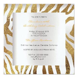 Luxo do ouro das cinzas de prata de pele animal do convite quadrado 13.35 x 13.35cm
