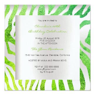Luxo verde tropical do ouro das cinzas de prata convite quadrado 13.35 x 13.35cm