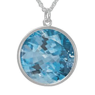 Luz - água-marinha azul março Birthstone de pedra Colar De Prata Esterlina