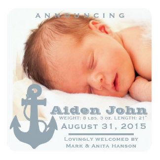 Luz - anúncio azul do bebê da âncora convite quadrado 13.35 x 13.35cm