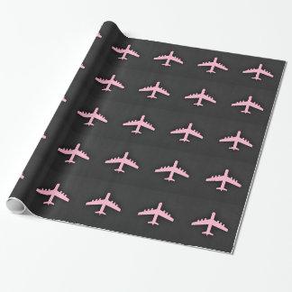 Luz - avião cor-de-rosa papel de presente
