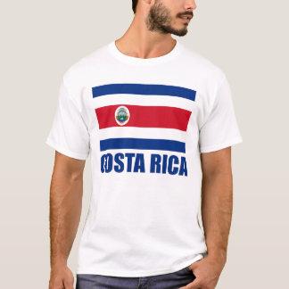 Luz azul do texto da bandeira de Costa Rica T-shirt