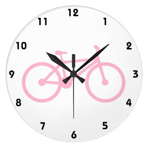 Luz - bicicleta cor-de-rosa relógios para paredes