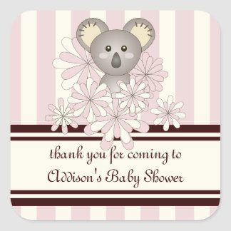 Luz bonito do Koala do bebê - listrado cor-de-rosa Adesivo Quadrado