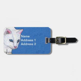 Luz brilhante do gato branco bonito - olhos azuis etiqueta de bagagem