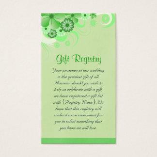 Luz - cartões florais verdes da lista de presentes