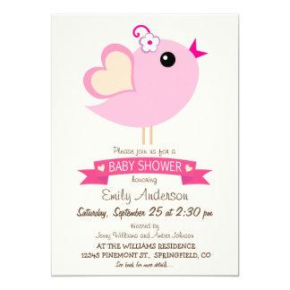 Luz - chá de fraldas cor-de-rosa do pássaro do convite 12.7 x 17.78cm