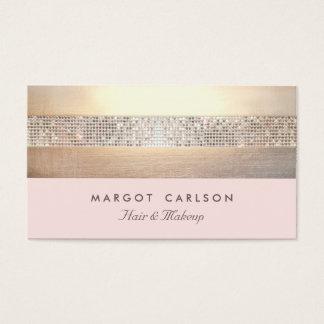 Luz chique e elegante do ouro do Sequin - listrado Cartão De Visitas