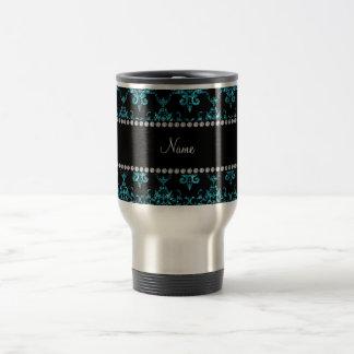 Luz conhecida personalizada - damasco azul caneca térmica