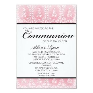 Luz - convite cor-de-rosa do comunhão das meninas