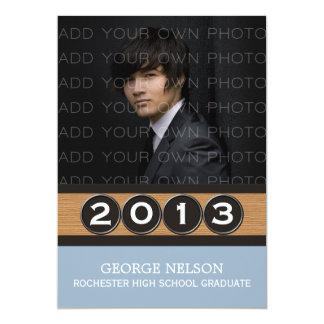 Luz - convite elegante azul da graduação das