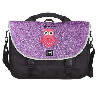 Luz cor-de-rosa conhecida personalizada da coruja  pasta para notebook