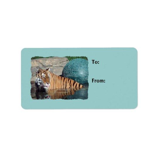 Luz da foto do tigre de Bengal - o presente azul Etiqueta De Endereço