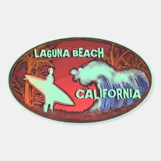 Luz de Califórnia do Laguna Beach - etiquetas Adesivo Oval