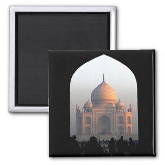 Luz de Taj Mahal da foto da arquitetura de India Ímã Quadrado