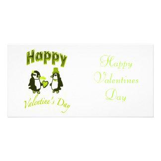 Luz - dia dos namorados feliz do pinguim verde cartao com foto personalizado