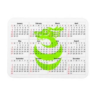 Luz do calendário - ímã do prêmio do dragão verde foto com ímã retangular