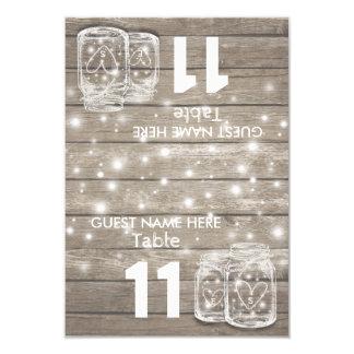 Luz do frasco de pedreiro do número da mesa do convite 8.89 x 12.7cm