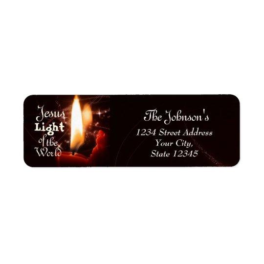 Luz do mundo, vela de Jesus do Natal Etiqueta Endereço De Retorno