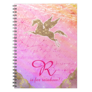 Luz do ouro do brilho do unicórnio - letra roxa R Cadernos