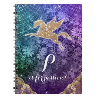Luz do ouro do brilho do unicórnio - paixão roxa caderno