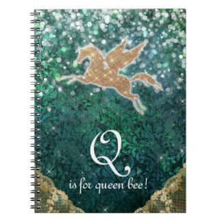 Luz do ouro do brilho do unicórnio - rainha roxa B Caderno