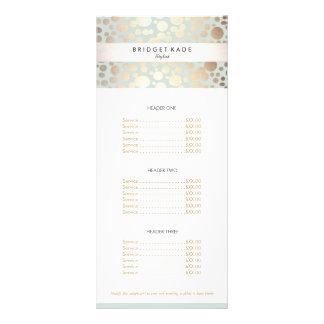 Luz do ouro do salão de beleza - menu azul do 10.16 x 22.86cm panfleto