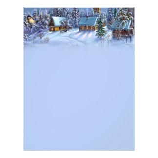 Luz do vintage - imagem nevado do mundo do Natal Panfleto Coloridos