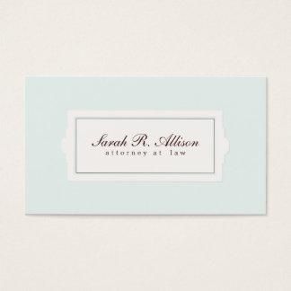 Luz elegante do estilo da chapa do advogado - azul cartão de visitas