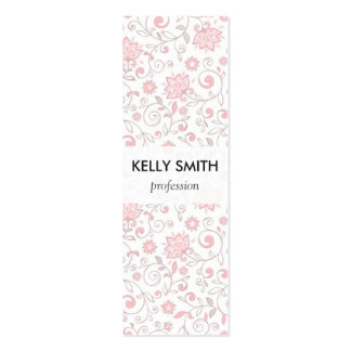 Luz elegante - teste padrão floral cor-de-rosa cartão de visita skinny