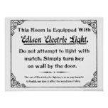 Luz elétrica de Edison Posteres