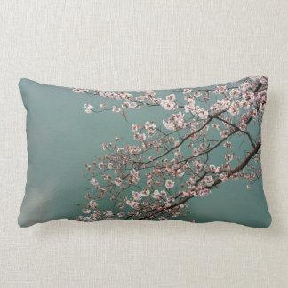 Luz - flores de cerejeira cor-de-rosa no fundo dos almofada lombar