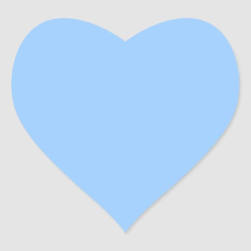 Luz lisa fundo azul adesivo de coraç u00e3o Zazzle