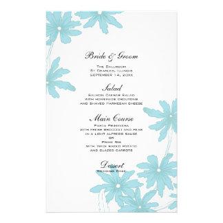 Luz - margaridas azuis que Wedding o menu Papel Personalizados