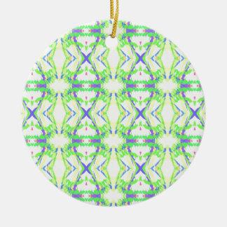 Luz moderna e teste padrão tribal azul verde ornamento de cerâmica redondo