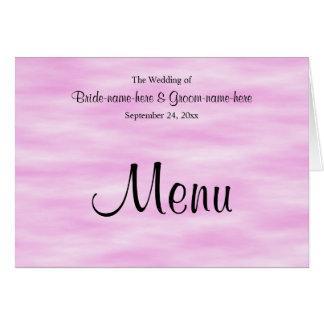 Luz - projeto cor-de-rosa do menu do casamento do cartão de nota