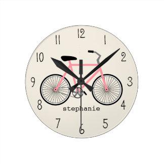 Luz - pulso de disparo cor-de-rosa da bicicleta relógios para pendurar