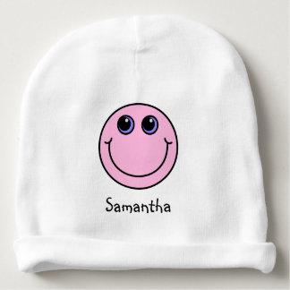 Luz - smiley face cor-de-rosa personalizado gorro para bebê
