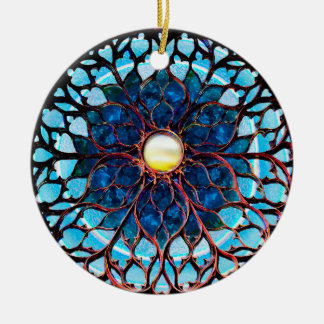 Luz solar após a tempestade ornamento de cerâmica redondo